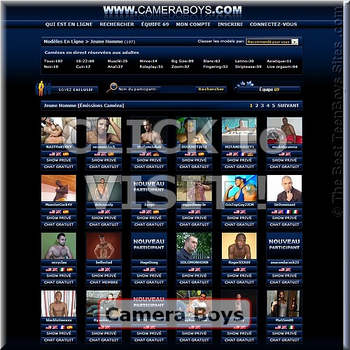 Screen capture of Camera Boys  (site with teenagers nude, having sex)