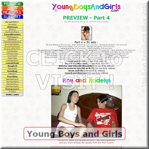 Screen capture of Young Boys and Girls  (site with teenagers nude, having sex)